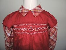 Vintage Princess Anne Hand Smocked Dress Girls 6 Maroon School BTS Outfit EUC