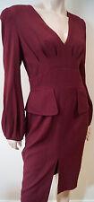 ALEXANDER MCQUEEN Burgundy Red 100% Silk V Neck Long Sleeve Formal Dress 44 UK12