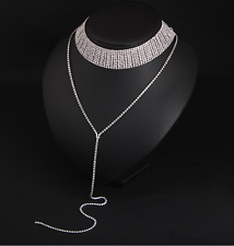 Women Bling Diamond Necklace Bling Rhinestone Crystal Choker Party Evening Gift