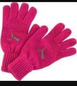Puma Women's Pink Knit Gloves Size Medium/large Brand New
