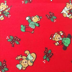 Christmas Santa Bears Print Red Fabric Holly Gingerbread Present Lights 2.5 Yard
