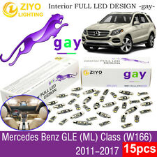 15pcs Deluxe White LED Interior Light Kit For W166 2011-2017 Benz GLE (ML) Class