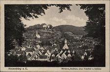 Neuenbürg an der Enz s/w AK 1920 gelaufen mittlerer Stadtteil Friedhof Schloss