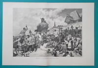 RUSSIA Funeral Festivities in Tver Governorate - 1880s Wood Engraving Print