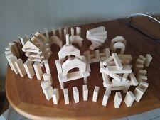 Wooden Toy Blocks Set Construction Building Natural Wood  124 Pieces