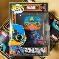 "Funko Pop Marvel : Black Light Captain America #648 Vinyl w/Protector case ""MINT"