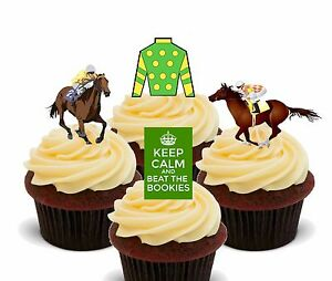 Horse Racing Edible Cup Cake Toppers, Standup Fairy Decorations Grand National