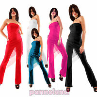 Overall tuta intera velata jumpsuit donna tutina pantaloni clubwear CC-2013