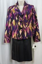 Suit Studio Skirt Suit Sz 8 Black Multi Uptown Glamour Evening Cocktail Business