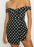 PRETTY LITTLE THING Black Polkadot Bardot Bodycon Dress UK 8 Us 6  (plt6)