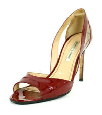 MANOLO BLAHNIK Crimson Red Patent Leather Open-Toe d'Orsay Pumps 39.5