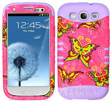 KoolKase Hybrid Silicone Cover Case for Samsung Galaxy S3 - Butterfly Pink 87