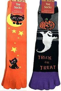 Halloween Toe Socks Set 2 Pairs Women's Novelty Pumpkin Ghost Black Cats Fall