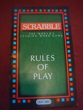 Original Spears Games Scrabble Rules Of Play / Instructions