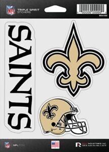 New Orleans Saints Triple Spirit 3 Decals Auto Tumbler Laptop Cut to Shape