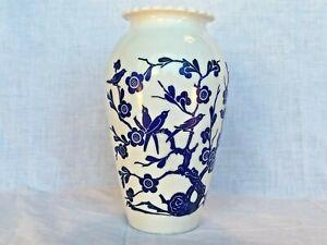 1940's  Anchor Hocking Vitrock White Milk glass Blue Flowers Birds Vase