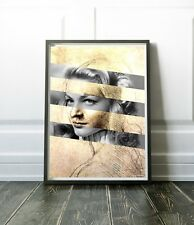"Leonardo Da Vinci's ""Head of a Woman"" & Lauren Bacall Poster 19.6""X27.5"""
