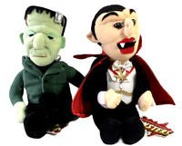 "Set 2 Universal Studios Monsters 1999 Plush Dracula Frankenstein Halloween 9"""