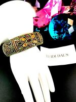 NIB STUNNING HEIDI DAUS MULTICOLOR RHINESTONE HIDDEN QUARTZ WATCH BRACELET