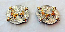 Team Roping Conchos Pair Sterling Silver Overlay Carlos Silversmiths Horse Tack