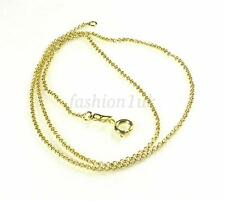 46cm 18 inch 14K Yellow Gold Plated Spring Clasp Circle Chain Necklace UK Seller