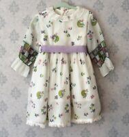 Vintage 1960s Neon Pink, Green, Purple & White Young Girl's Springtime Dress