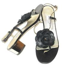 JIMMY CHOO~$495~LEATHER~GOLD HEELS *WARWICK* FLOWER~GLADIATOR SANDALS~38.5~RARE