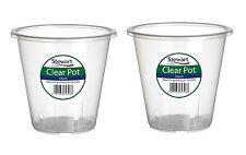 2x Stewart Garden Plastic Plant Pot Clear Orchid Planter - 16cm