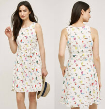 ANTHROPOLOGIE NWT Toucan Dress by Sunday in Brooklyn White Bird Print Sz S $138