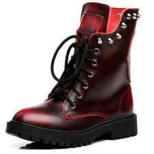 Women's Combat Boots Mid-Calf Round Toe Motorcycle Lace-up Punk Shoes Skull