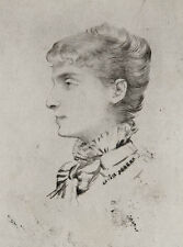Sarah Bernhardt, Louise Abbema. Gravure XIXe. engraving incisione radierung 19th