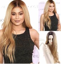 Natural Long straight Wavy Curl Ombre celebrity Blonde kylie synthetic Hair Wig