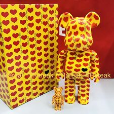 Medicom Be@rbrick 2018 Amplifier Memorial 400% & 100% Yellow Heart Bearbrick Set