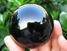 60MM+Stand Natural Black Obsidian Sphere Large Crystal Ball Healing Stone K09