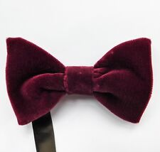 Velvet and satin reversible bow tie pre tied custom fit to any size burgundy
