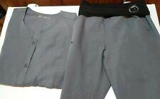 WonderWink Scrubs 4 Stretch Sporty Button Front, Yoga Pants Set Steel Gray