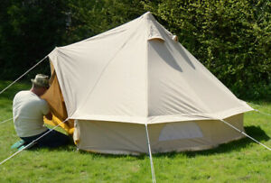 3m Bell Tent | Deluxe | Sewn in groundsheet | Quality canvas tent