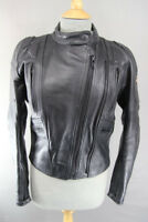 RIOSSI BLACK COWHIDE LEATHER BIKER JACKET WITH REMOVABLE BACK PROTECTOR: SIZE 12