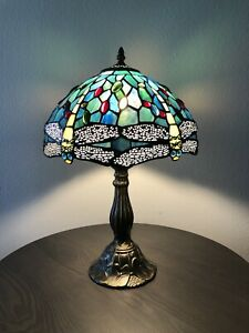 Tiffany Style Table Lamp Dragonfly Blue Green Stained Glass Antique Vintage H18""