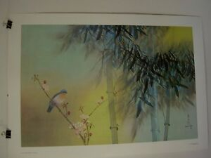 David Lee poster  Spring Bamboo   DL 7307  Bird 24  x 34   1978 Vintage