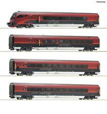 ROCO 74085 4-teiliges Wagenset Railjet der ÖBB, Beleuchtung, AC Spur H0