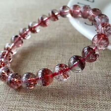 Natural Red Super Seven Lepidocrocite Quartz Crystal Beads Bracelet 8.5mm