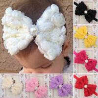 Baby Kids Girls Elastic Big Bow Headband Flower Hair Band Christening Wedding