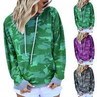 Women Camo Hoodie Long Sleeve Sweatshirts Loose Hooded Jumper Pullover Blouse