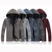 Hot Men's Sweater Hoodded Fur-Lining Warm Winter Thicken Cardigan Knitted Jacket