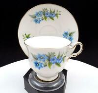 "QUEEN ANNE ENGLAND #G670 BLUE FLOWERS 2 7/8"" FOOTED CUP & SAUCER"