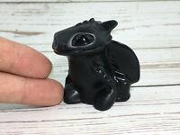 "2.5"" Natural Obsidian Fire Dragon Quartz Crystal Carved Skull Reiki Healing 1pc"