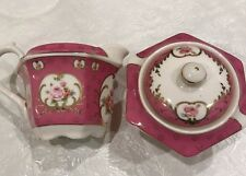 Grace's Teaware Creamer & Sugar Bowl -Pink With Roses Gold Trim- New Free Ship