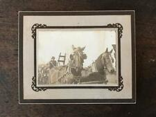 Vintage Photo 2 Work Horses Pulling Wagon Farmer Plow Blinders Magnificent B&W