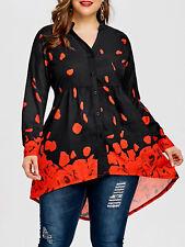 Plus Size XL-5XL Women Blouse T Shirt Tops Rose Petal Valentine Top Long Sleeve